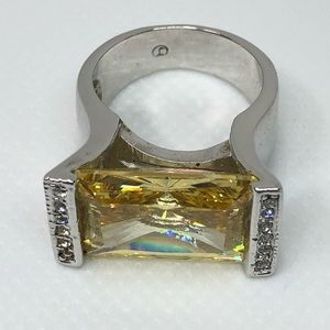 Stamped J Sterling Silver Citrine & Wht Stone Ring